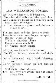 Requiem for Ada Virginia Williamson Foster...1898 - Newspapers.com
