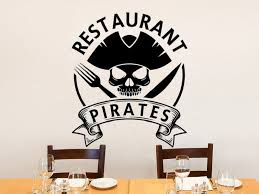 Restaurant Pirates Wall Decals Food Wall Art Restaurant Fast Food Applique Vinyl Sticker Pirate Hat Applique Kitchen Decal Ct04 Buy At The Price Of 7 52 In Aliexpress Com Imall Com