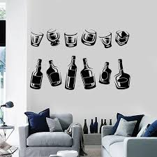 Wine Bottle Wall Decal Drinking Cup Collection Alcohol Glasses Pub Bar Kitchen Interior Decor Fridge Vinyl Stickers Mural E365 Wall Stickers Aliexpress