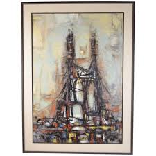 1955 Architectural Bridge Abstract Oil Painting Arthur Jacobson ...