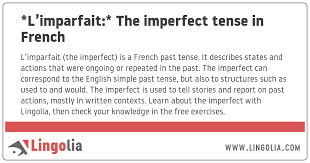 l imparfait the imperfect tense in french