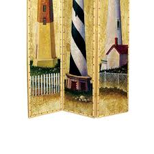 Benjara Hand Painted 3 Panel Wooden Room Divider With Lighthouses Print Multicolor Bm210114 Benzara Com
