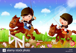 Two Jockeys With Their Horses Jumping Over A Hurdle Stock Photo Alamy