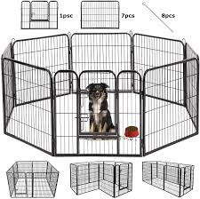 Amazon Com Bestpet Outdoor Indoor 40 Inches Metal Dog Pen Dog Fence Playpen Extra Large Exercise Pen Dog Crate Cage Kennel Black Pet Supplies