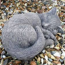 stone effect cat garden ornament