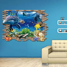 Amazon Com Hatop Kid Room Sea Whale Fish 3d Wall Stickers For Kids Room Removable Decoration Diy Pvc Sticker Arts Crafts Sewing