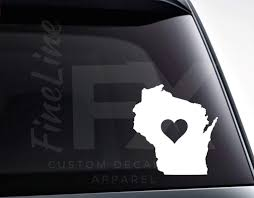 Wisconsin With A Heart Vinyl Decal Sticker Love Wisconsin