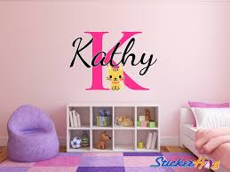 Personalized Cat Name Monogram Wall Decal Girls Room Vinyl Graphics
