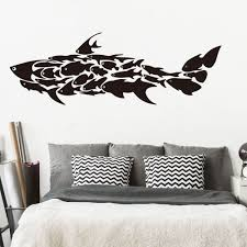 Large Shark Fish Ocean Wall Decal Kids Room Nursery Cartoon Shark Under Sea Fish Shark Wall Sticker Playroom Bedroom Vinyl Decor Wall Stickers Aliexpress