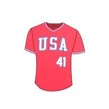 84 Red Retro Block Jersey Decal Usa Baseball Shop