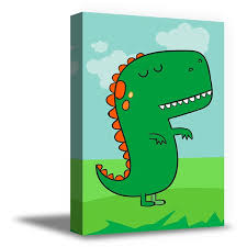 Awkward Styles Green Dinosaur Ready To Hang Picture Trex Canvas Art Kids Room Wall Art Nursery