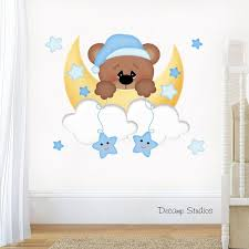 Teddy Bear Decal Baby Boy Nursery Wall Art Sticker Moon Cloud Star Kids Mural Room Decor Sleepy Bear O Baby Boys Wall Art Baby Boys Wall Nursery Wall Art Boy