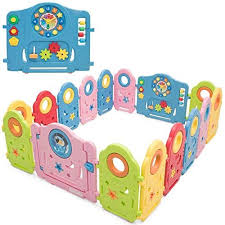 Costzon Baby Playpen 16 Panel Foldable Colorful Rocket Kids Portable Playard With Funny Game Panel Safety Lock Compare And Shop The Best Stuff In 2020 Kids Activity Center Baby Playpen Baby Activity Center