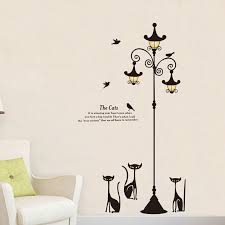 Hot Sale 35a9 New Large Cats Wall Sticker Street Lamp Stickers Sofa Wall Decoration Vinyl Removable Wall Decal Mural Wallpaper Diy Home Decor Cicig Co