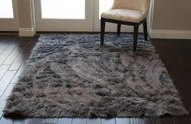 Furry Fluffy Fuzzy Soft Solid Faux Fur Sheepskin Lambskin Sheep Hide Animal Skin Livingroom Bedroom Nursery Room Floor Rug Carpet Area Rug Indoor Gray Grey 5x7 Large Fur Shaggy Gray Grey