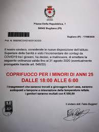 COPRIFUOCO PER I MINORI DI ANNI 25 DALLE 18:00 ALLE 6:00 – Comune di  Bugliano