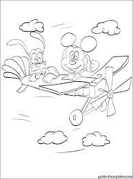 Pluto Van Mickey Mouse Op Een Vliegtuig Gratis Kleurplaten