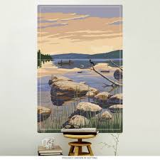 Rocky Lakefront With Canoe Wall Decal At Retro Planet