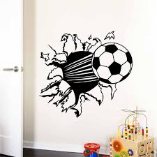 3d Football Sport Coming In Hole Creative Kids Room Decoration Home Decal Wall Sticker Boys Soccer Ball Lovely Wall Decals Stickers Boy Wall Stickerwall Sticker Boy Aliexpress