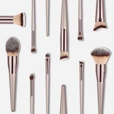 luxury chagne makeup brushes set for