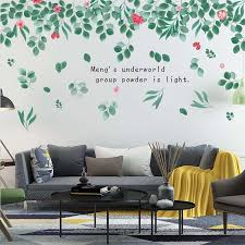 Modern Pastoral Hipster Cartoon Fresh Leaves Flowers Wall Decals Living Room Home Decor Removable Wallpaper Stickers Wall Stickers Aliexpress