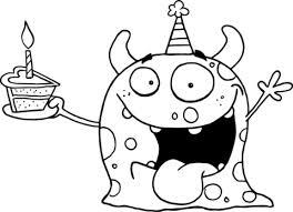 Dibujo de Monstruo Feliz Celebrando el Cumpleaños con una Tarta ...