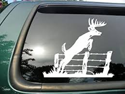 Amazon Com Red Clay Designs Deer Jumping Fence Die Cut Vinyl Window Decal Sticker For Car Or Truck 5 5 X5 5 Automotive