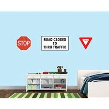Amazon Com Stop Sign Wall Decal Street Sign Decal Traffic Sign Stickers Stickers For Boys Walls Baby