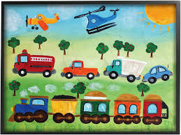 Amazon Com Stupell Industries The Kids Room By Stupell Planes Trains And Automobiles Black Framed Wall Art 16 X 20 Design By Artist Njoyart Home Kitchen