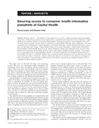 PDF) Ensuring access to consumer health information pamphlets at Capital  Health