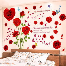 Diy Butterfly Red Rose Flowers Wall Sticker Home Decor Romantic Girls Wedding Room Decoration Removable Vinyl Decals Art Posters Leather Bag