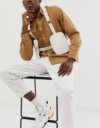asos design faux leather chest harness