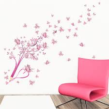 Flying Pink Butterfly Flower Blossom Pencil Tree Wall Sticker Free Shipping Wall Stickers Art