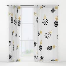 Pineapple Cute White Gold Nursery Window Curtains For Kids Room
