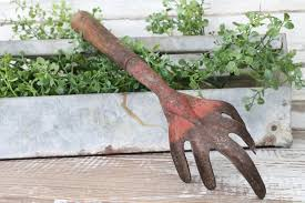 cultivator fork metal red farmhouse