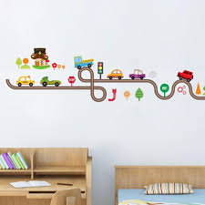 Kids Cars Super Highway Wall Decals Bedroom Wall Cartoon Car Racetrack Wall Art House Boutique