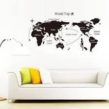 Large Black Map Of The World Wall Stickers Decal Vinyl Art Home Kids Room De Ev For Sale Online Ebay