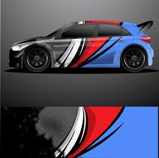 Rally Car Decal Graphic Wrap Premium Vector