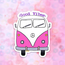 Bus Van Sticker Vinyl Sticker For Laptop Car Decal Water Bottle Sticker Car Sticker Hippie Bus Van Life Sticker Good Vibes Sticker
