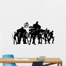 Avengers Superhero Wall Decal Comic Marvel Silhouette Vinyl Sticker Stencil Poster Kids Teen Girl Boy Room Nursery Bedroom Decor Mural 237zzz