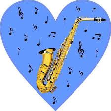 4in X 4in Blue Saxophone Heart Sticker Vinyl Cup Decal Car Bumper Stickers Heart Stickers Car Bumper Stickers Cup Decal