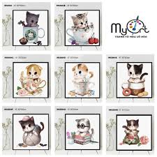 Tranh sơn dầu số hóa tự tô màu theo số - Bộ sưu tập tranh mèo con cute dễ  thương Tranh hoạt hình thú cưng