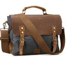 vintage leather canvas men briefcase