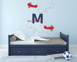 Airplane Custom Name Wall Decal Plane Wall Decal Baby Room Etsy