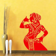 Shop Indian Woman Wall Decal Belly Dance Girl Dancer Gym Wall Vinyl Sticker Home Art Mural Sticker Decal Size 22x35 Color Red Overstock 14319038