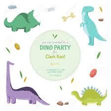 Dinosaurios Tarjeta De Invitacion O Un Cartel En El Partido De