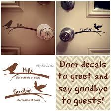 Hello Goodbye Bird Front Door Vinyl Decal Sticker Welcome Etsy