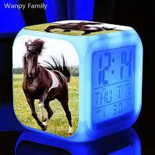 Running Grassland Horse Alarm Clock 7 Color Led Glowing Digital Alarm Clock For Kids Room Night Light Electronic Watches Clock Alarm Clocks Aliexpress