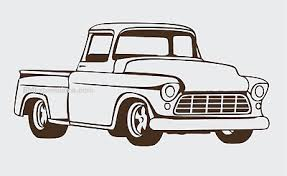 55 57 Chevy Truck Front Side View Vinyl Decal Your Color Choice Sticker Ebay