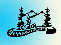 Mountain Biking Vinyl Decal Sticker My Happy Place Biking Etsy Mountain Bike Tattoo Bike Tattoos Mountain Bike Art